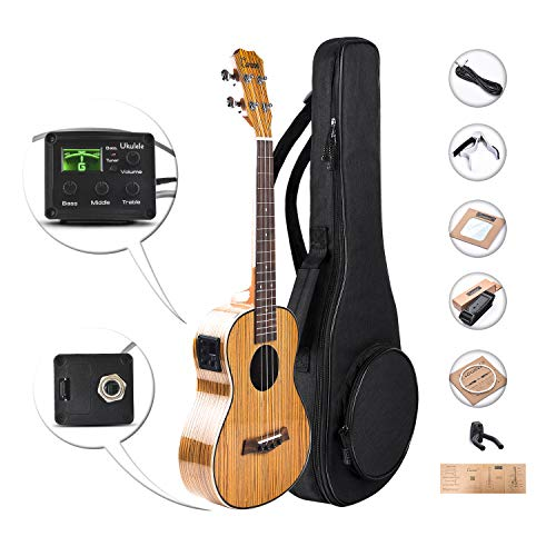 Caramel CT103 High Gloss Tenor Acoustic & Electric Ukulele with Aquila Strings, Padded Gig Bag, Strap and Picks