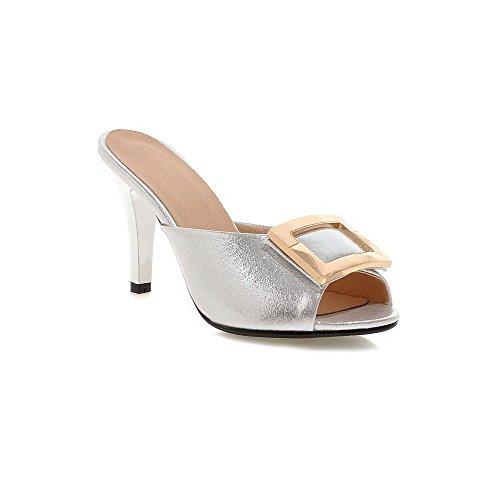 AllhqFashion Women's Pull On Peep Toe Spikes Stilettos PU Solid Slippers, Silver, 35 by AllhqFashion