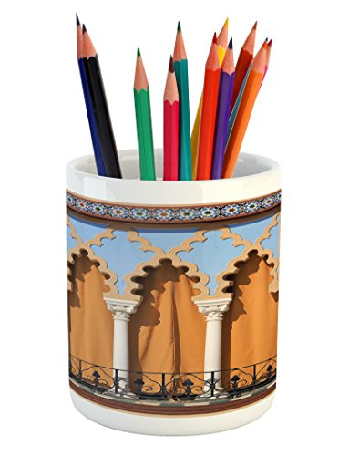 Lunarable Arabian Pencil Pen Holder, Old Windows in Arabian Style at Cordoba Spain Background Balconies City, Printed Ceramic Pencil Pen Holder for Desk Office Accessory, Sand Brown Pale Blue by Lunarable