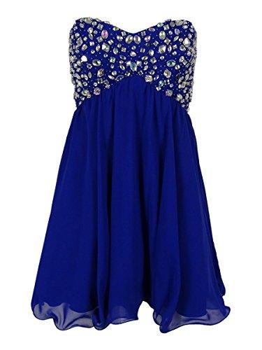 Bee Darlin B Darlin Juniors' Embellished Strapless Dress (13/14, Royal)