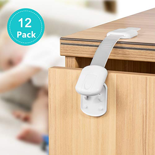 Child Safety Cabinet Locks, No Tools or Drilling Required | Adjustable Strap Latches to Cabinets,Drawers,Cupboard,Oven,Fridge,Closet Seat,Door,Window by Adoric (12 Pack)