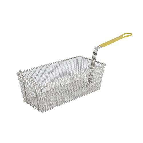 Winco FB-40, 17 x 8 x 6-Inch Nickel Plated Fry Basket with Plastic Yellow Grip Handle, Deep Fryer Basket