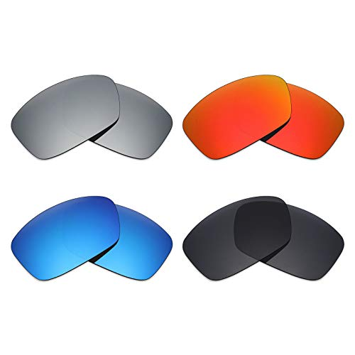 Mryok 4 Pair Polarized Replacement Lenses for Oakley Hijinx Sunglass - Stealth Black/Fire Red/Ice Blue/Silver ()