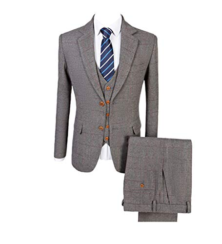 Grey Classic Tweed Herringbone Wool Blend Men Suit 3 Pieces Check Plaid Striped Tailored Blazer