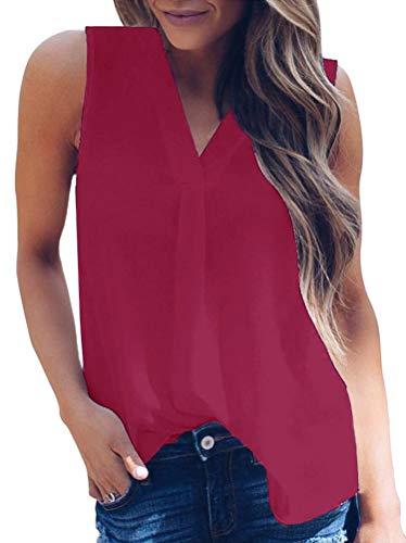 Maniche Blusa Solido A Tomwell Tops Scollo Senza Elegante Donna Vino Colore V Rosso Camicetta Camicie UqpzMGLSV