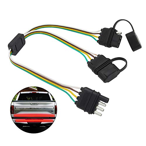 Carrep 4PIN Flat Y-Splitter Terminal Extension Harness 1 Male Connect 2 Female Connectors for Tailgate Light Bars, Plug-N-Play (Y-Splitter wiring) ()