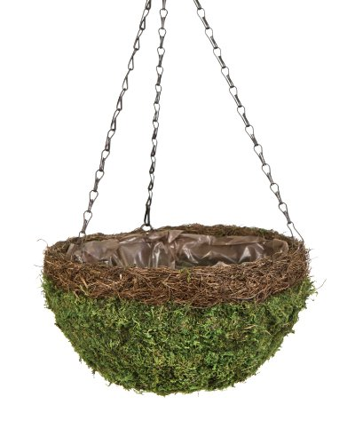 Spanish Hanging Basket - Super Moss (29203) MossWeave Hanging Basket - Round, Fresh Green with Wicker Rim, Small (12.5 Diameter)