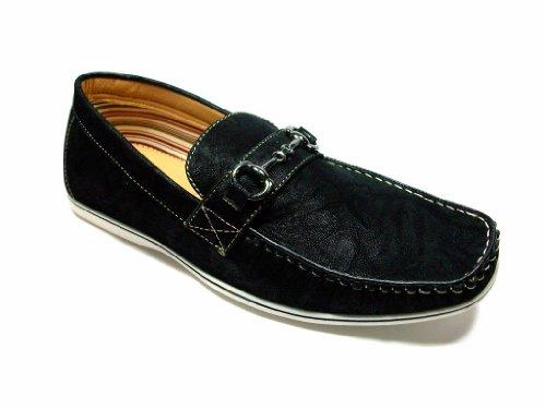 Mens 30193 Slip Mocassin Sur Suedette Casual Chaussures Mocassin Noir
