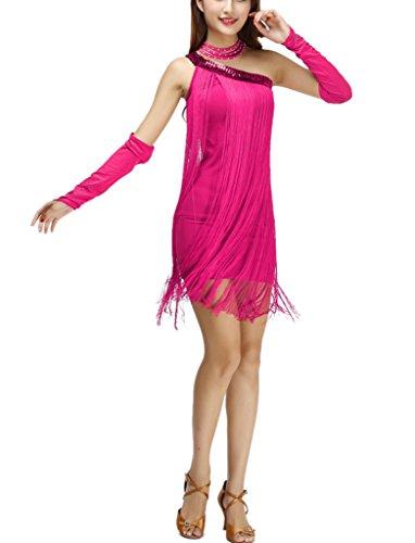 One Shoulder Asymmetrical 1920s 20s Fringe Style Flapper Dress Costume Rose Pink ()