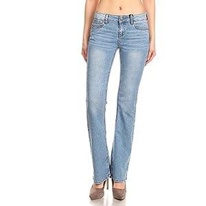 Women's Flared Bell Bottom Mid Rise Juniors Jeans