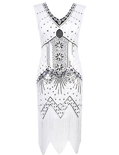 PrettyGuide Women's 1920s V Neck Beaded Sequin Art Deco Gatsby Inspired Flapper Dress L White