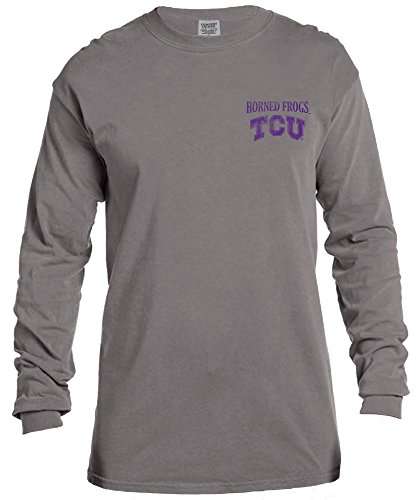 Tcu College Football (NCAA TCU Horned Frogs Vintage Poster Long Sleeve Comfort Color Tee, Small,Grey)