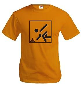 T-Shirt Stockschießen-Piktogramm-XL-Orange-Black