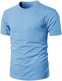 Mens Casual Regular Fit Round Neck Basic Solid Colored Short Sleeve T-Shirts