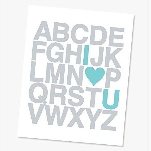 ABC I Love You Alphabet Art Print, Grey Letters Teal Heart,