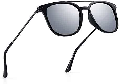 8a221f7359 Polarized Mirrored Sunglasses Flat Top Square Aviator Shades Glasses Men  Women