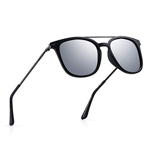 Gafas Mujer Sol de Anteojos Cuadrado Hombre Top Plano Lentes Polarizadas Sombra Espejo Aviador Espejo Plateado Negro AqSpwH