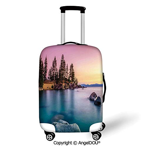 AngelDOU Fashion Elastic Fabric Luggage Protective Cover Lake Trees on the Alley and Stones in the Lake Motivational Nature Inspired Rest Home Decor Pink Blue Suitable18-28 Inch Trolley Case Suitcase