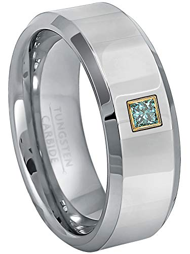 0.10ctw Solitaire Princess Cut Blue Diamond Tungsten Ring - 8MM Polished Finish Beveled Edge Tungsten Carbide Wedding Band - April Birthstone Ring - s8.5 ()