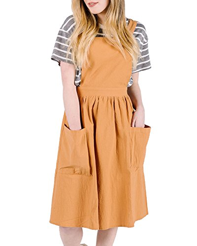 (Saodimallsu Womens A-Line Straps Loose Bib Overall Dresses Casual Pinafore Jumper Dress with Pockets Yellow)