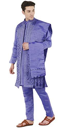 Gli Partito Skavij Camicia Del 4 Verso Pulsante Usura Manica Kurta Blu Per Vestito Da Il Di Pezzi Uomini Basso Nozze Lunga Pigiama Sherwani rgwtx1Ug