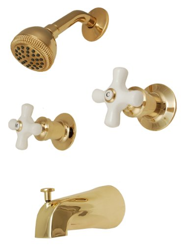 Two-handle Tub & Shower Faucet, Polish Brass Finish, Porcelain Handle, Compression Stems - By Plumb USA (Porcelain Tub Set)
