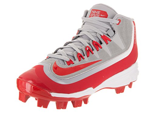 NIKE Kids Huarache 2KFilth Pro Mid MCS BG Wolf Grey/University Red White Baseball Cleat 4.5 Kids US