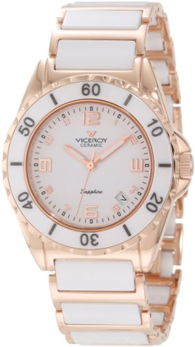 Viceroy Women's 47548-95 White Ceramic Rose Gold-Tone Date Watch