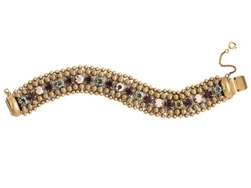 Sorrelli Jessamine Mahogany Swarovski Crystal Antique Goldtone Beaded Bracelet ()
