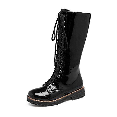 BalaMasa Womens Mid-Calf Bandage Zipper Patent Leather Black Urethane Boots ABL10563-7 B(M) US (Patent Leather Knee Boot)