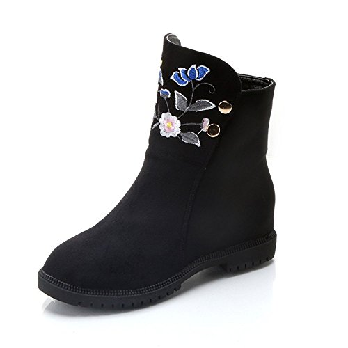 KHSKX-Invierno Botas Nuevas Zapatos De Mujer Piso Interior De Caucho Color Manga Corta Zapatos De Mujer Talon Plano Redondo Martin Botas Zapatos De TelaTreinta Y OchoBlack
