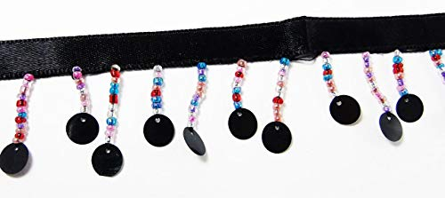 2 Yards Hanging Beaded Fringes- Multi Color Ombre Shades Glass Seed Beads Black Round Sequin Paillettes Satin Ribbon Tape for Sewing Quilting Renaissance Dance Hawaiian Bridal Costumes Drapery