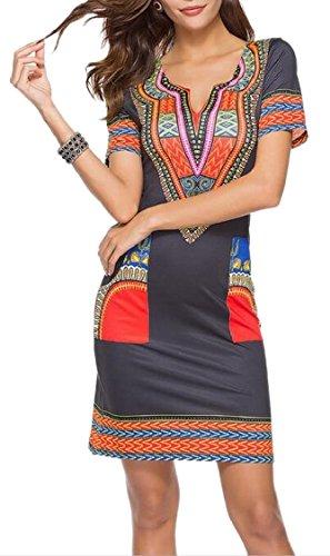 Jaycargogo Style Folk Africaine Femmes Robe Courte Club Soirée Crayon À Manches 3
