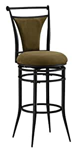 Hillsdale Cierra 26-Inch Swivel Counter Stool, Black finish with Bear Faux-Suede Fabric