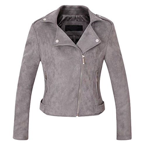 Chartou Women's Stylish Notched Collar Oblique Zip Suede Leather Moto Jacket (Medium, Grey) (Gray Leather Jacket)