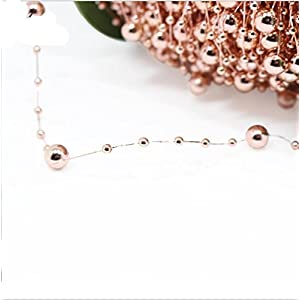 30-Yard Rose Gold DIY Party Supply ABS Artificial Pearl Beaded Flower String Garland for Bridal Wedding Bouquet Tea Party Garden Craft Decoration 3