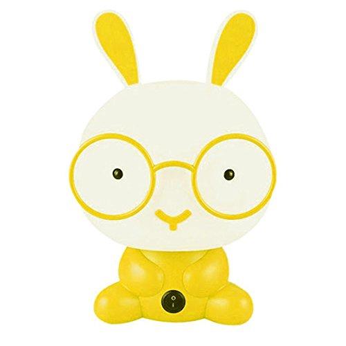 y Room Wearing Glasses Rabbit Cartoon Night Sleeping Light Kids Bed Lamp Night Sleeping Lamp (Yellow) (Hydrocortisone Enema)