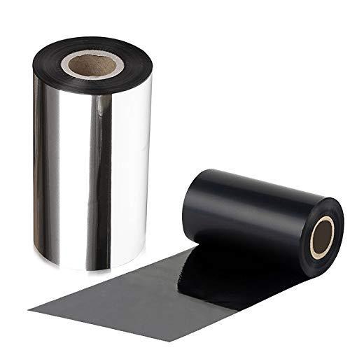 (LENVII Black Resin Ribbon for Zebra Thermal Transfer Desktop Printers, for FBA Removable Labels(4.33'' x 656', 1'' Core, 2 Rolls/Package))