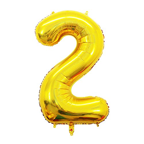 2 Pcs 42 Inch Gold Foil Balloons Number 2 by GOER,Number Balloons for Party -