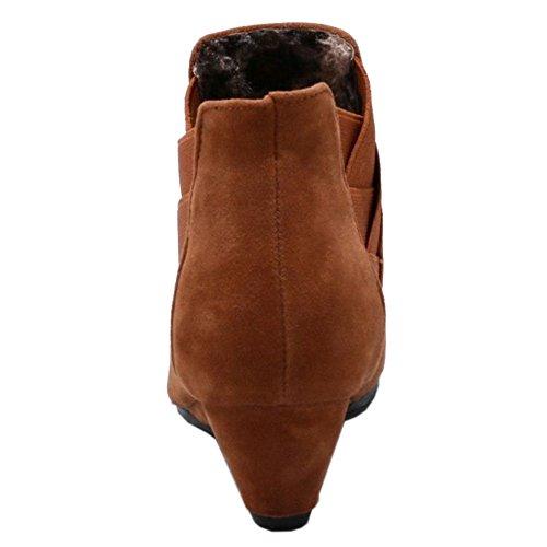 COOLCEPT Damen Stiefel Ohne Verschluss Yellow-Brown
