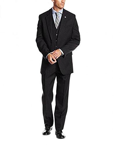 BOwith Men's Vested 3 Piece Suit Wedding Tuxedo Homecoming Suit Black - Tuxedo Vested Black