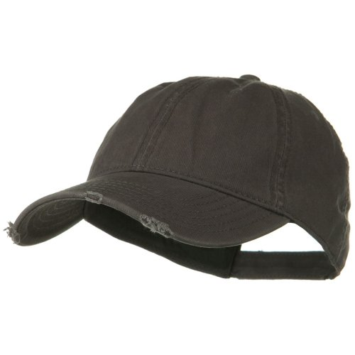 Otto Caps Superior Garment Washed Cotton Twill Frayed Visor Cap - Charcoal Grey