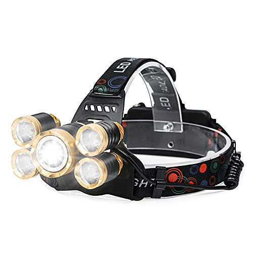 CONPEST Rechargeable LED Headlamp, Super Bright 5 LED Flashlights 18650 Zoomable Waterproof Headlight Hard Hat Light for Night Hiking Camping Cycling Fishing Hunting Running