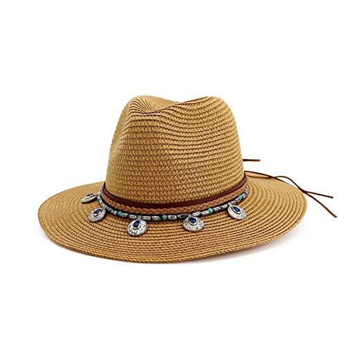 (Vim Tree Wide Brim Straw Panama Hat Bohemia Fedora Beach Sun Hat UPF50 Khaki)