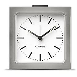 alarm clock block stainless steel white index