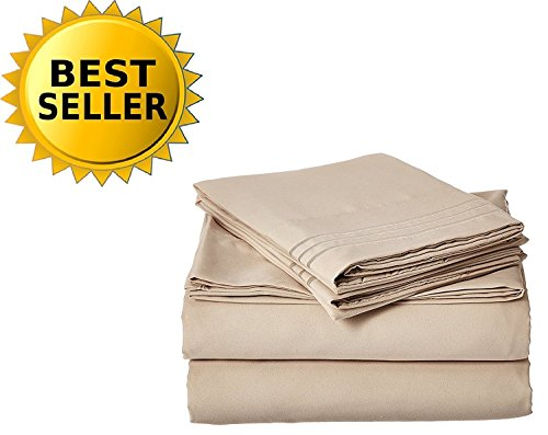 Elegant Comfort Bedding Collection 4-Piece Bed Sheet Set 1500 Thread Count Egyptian Quality Wrinkle Free HypoAllergenic with Deep Pockets , Queen, Cream (Bedding Linen Collections)