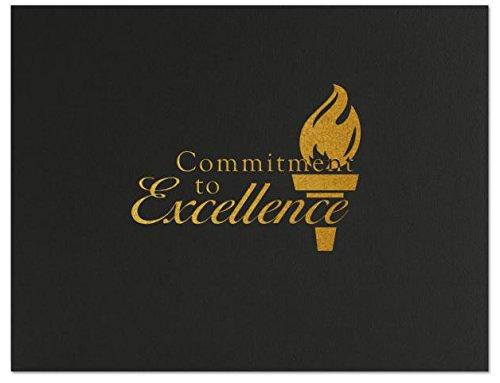Successories 751545BK Commitment to Excellence Linen Certificate Folders, Black