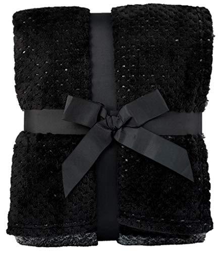 Simplicity Flannel Fleece Luxury Throw Blanket 2-Tone Pattern Blankets, Black ()