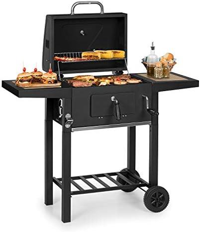 KLARSTEIN Meat Machine - Grill à Charbon de Bois, BBQ-Grill, Fumoir, Surface de Cuisson 45 x 32,5 cm, Système d'aération, Cheminée, Thermomètre intégré, Foyer réglable en Hauteur - Noir