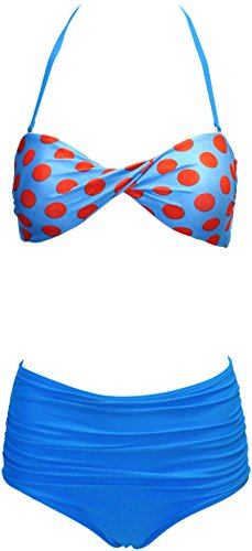 Vintage-Inspired Retro Pinup Girl Style High Waist Bikini Swimwear Set (Small, Slimming Blue & Red Polka Dot Bandeau Twist Top with Solid Blue Ruched-Front High Waist Bottom)